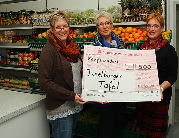 Heike Wehren (links) und Margret Belting (rechts) übergaben den Scheck an Marianne Roßkothen (Foto: Frithjof Nowakewitz)