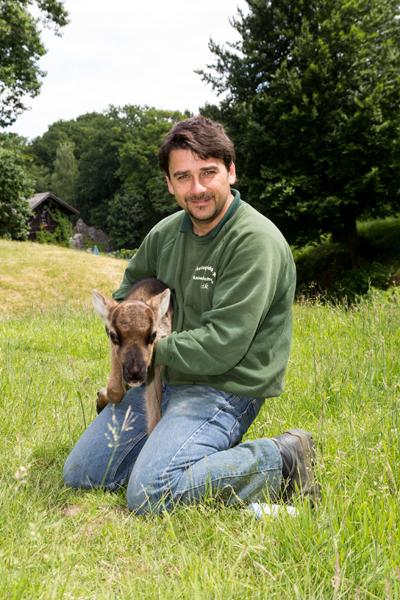 Rentierkälbchen Svenja und Tierpfleger Maik Elbers sind ein Herz und eine Seele (Foto: Frithjof Nowakewitz)